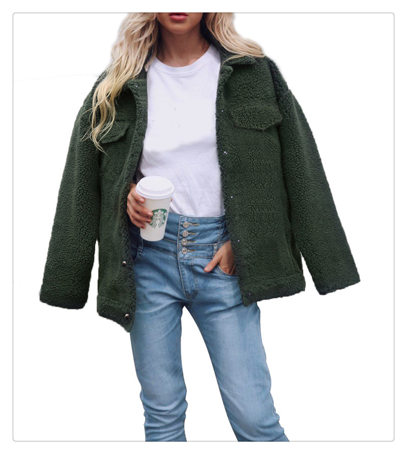 Spot Europe and the United States autumn and winter new style imitation fur foreign trade women plush coat leisure coat women (8)