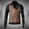 2016 fashion style leather jacket men zipper windproof slim patchwork male motorcycle leather clothing jaqueta motoqueiro #461