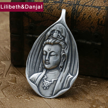 Men  Lucky Peace Buddha Pendant 925 Sterling silver Ethnic Buddhist Heart Sutra Necklace Pendant Gift Fine Jewelry F34