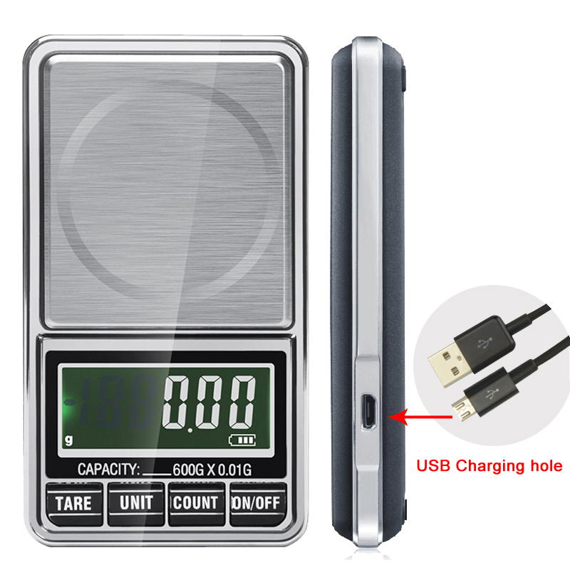600g x 0.01g Electronic Jewelry Scale Digital Pocket Weight Mini Precision Balance USB interface LCD weight scale Весы