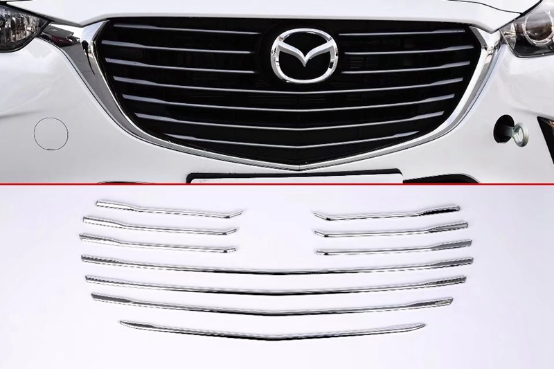 MONTFORD ABS Chrome Grille Middle Cover Strips Front Center Grill Trim Decoration 10Pcs For Mazda CX-3 CX3 2015 2016 2017 2018 high quality new 13 for kia sorento 2013 2014 2015 abs chrome front under center grill grille cover trim hj