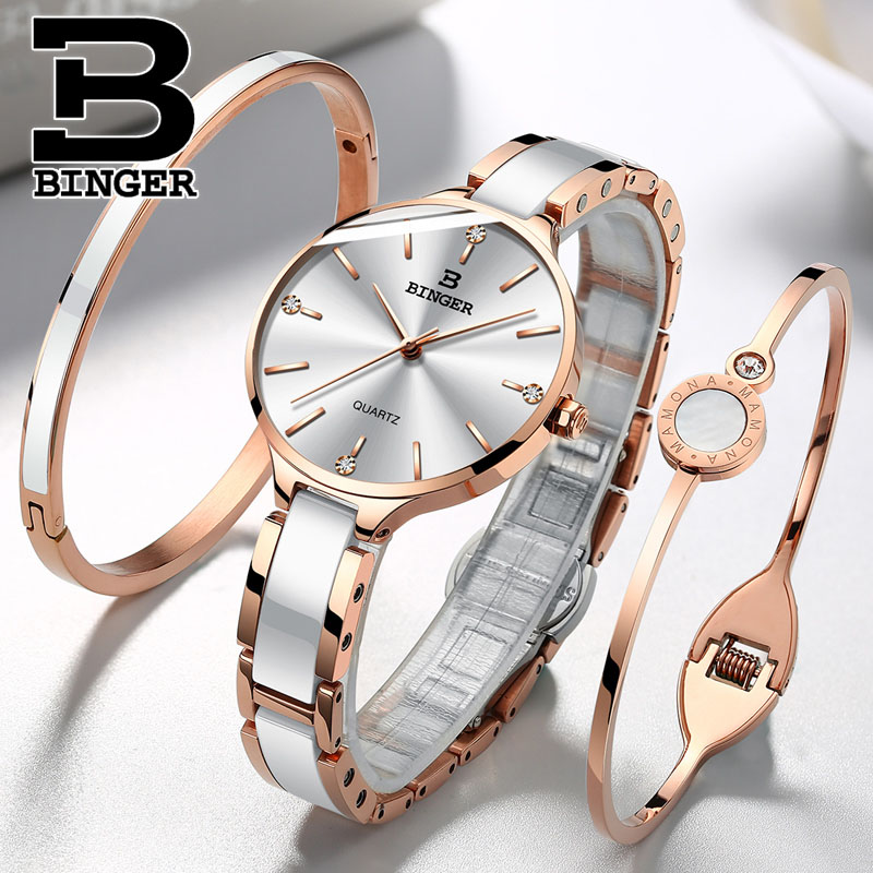 Binger Luxury Brand Wristwatches Bracelet Gift Switzerland Women Feminino Ceramic Quartz