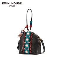 EMINI HOUSE Indian Style Mini Shell Bag Split Leather Tassel Shoulder Bag Crossbody Bags For Women