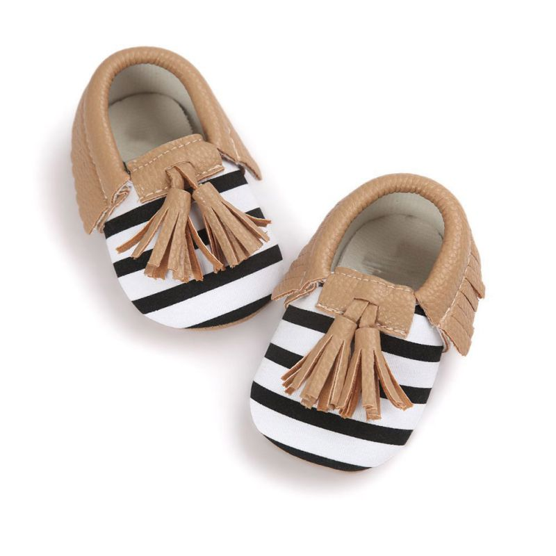 Baby Toddler Infant Unisex Boys Girls Soft PU Leather Tassel Moccasins Bow shoes Without Brand