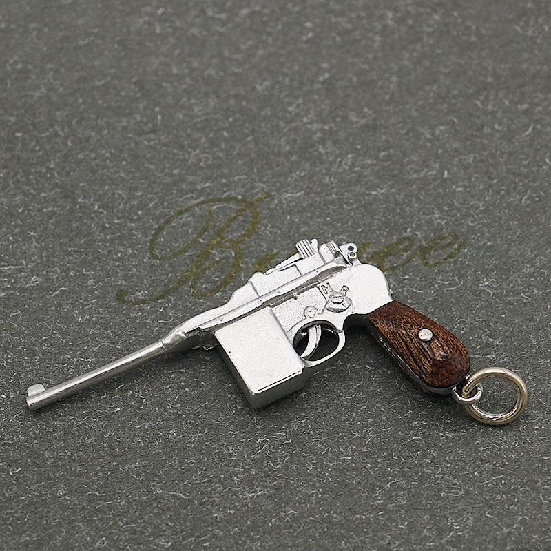 BUYEE German gun M1932 Pendant Necklace Firing pin & Trigger Could Fiddled Wood 925 Silver gun Pendant for Men цепочка german silver 46sm