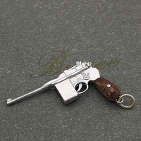 BUYEE German gun M1932 Pendant Necklace Firing pin & Trigger Could Fiddled Wood 925 Silver gun Pendant for Men
