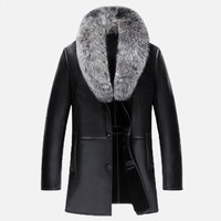 New Real Fox Fur Collar V Neck Men Long Style Sheep Leather Male Fur Solid Color