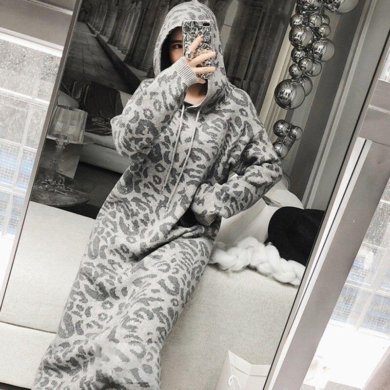 Dress White longues Mi Femme Mode Manches Léopard Robes khaki Gray 2019 Automne À Coréenne Q922 Femmes Robe Dress Sweat Longues Tricot De Avec Capuche ivory Y6gIbyf7v