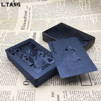 New 1 Deck Plastic Poker Waterproof Black Gold Playing Cards Travel Family Game Gift L474