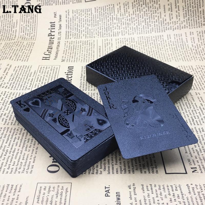 Nuevo 1 Deck plástico Poker impermeable negro oro naipes viaje familia juego regalo L474 Moldes de plástico 3D para paneles de azulejos 3D molde de yeso para pared de piedra decoración de arte de pared ABS DIY molde de ladrillo para pared de hormigón molde de onda 50*50cm