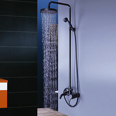 Oil Rubbed Bronze Wall Mount Waterfall Rain + Handheld Shower Faucet
