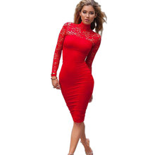 4 Colors Sexy Turtleneck Long Sleeve Lace Dress Women's High Quality Floral Embroidery Slim Bodycon Elastic Elegant Dress Party