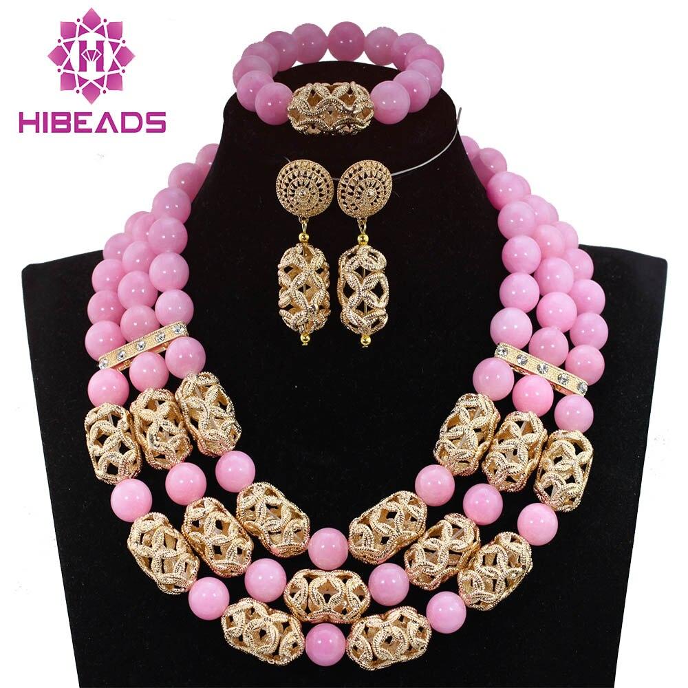 Splendid Baby Pink Beads Dubai Gold Jewelry Sets 2017 Wedding Costume Women Jewelry Set 16 Colors Free Shipping QW942Splendid Baby Pink Beads Dubai Gold Jewelry Sets 2017 Wedding Costume Women Jewelry Set 16 Colors Free Shipping QW942