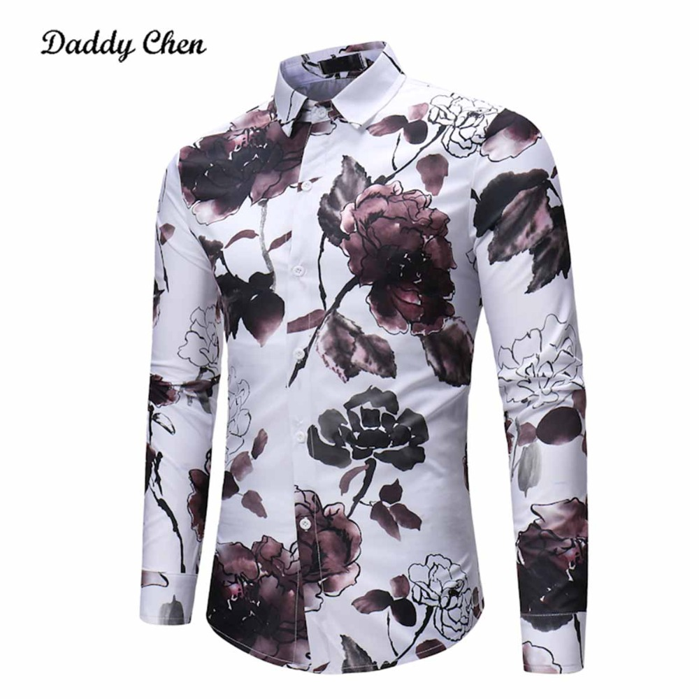 Shirts Chinese Style Cotton Men Shirts Ink Flower Painting Printed Mens Tops Tee long Sleeve Slim Fit Social Dress Plus Size
