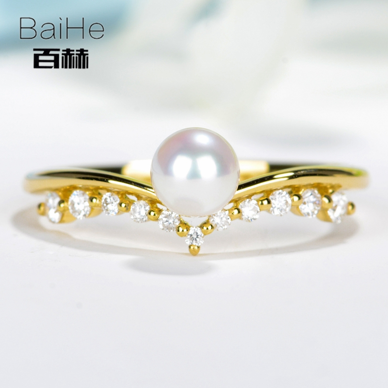 BAIHE Solid 14K Yellow Gold 4.8mm Certified Round cut 100% Genuine Freshwater Pearl Engagement Women Classic Fine Jewelry Ring  BAIHE Solid 14K Yellow Gold 4.8mm Certified Round cut 100% Genuine Freshwater Pearl Engagement Women Classic Fine Jewelry Ring