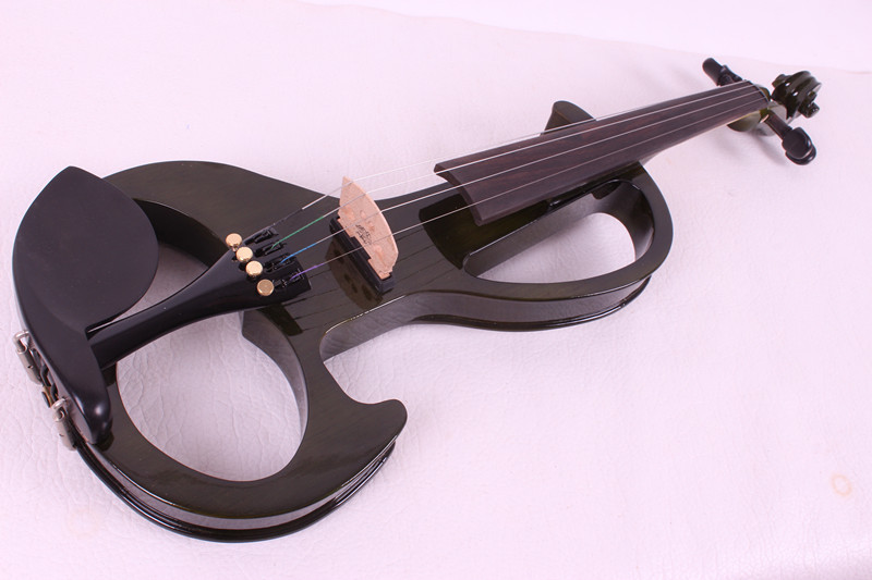 new  4/4 New 4 string Electric Acoustic Violin Solid Wood Nice Sound black color new 4 string 4 4 electric acoustic violin patent silent fine sound 1