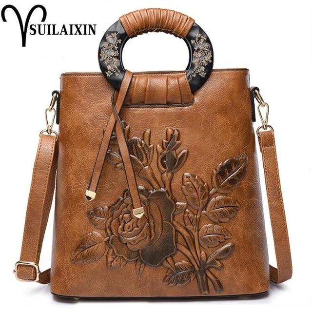 2e41688f1e43 Women Christmas Hobo Embroidery Bucket Bags Large Embossing Printing retro  Designer Floral Handbag Luxury Tote Bag
