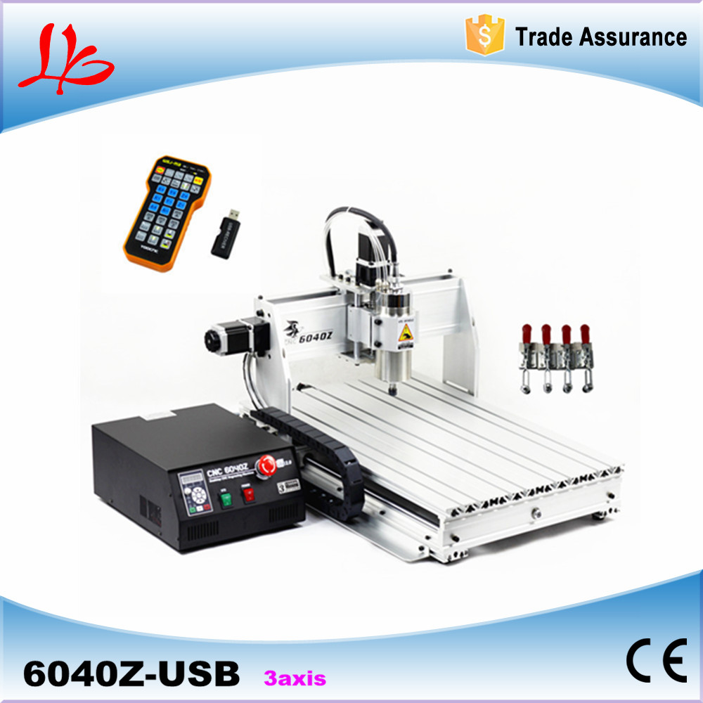 6040Z-USB 3 axis 2.2KW mini CNC router with mach3 remote control limit switch CNC engraver
