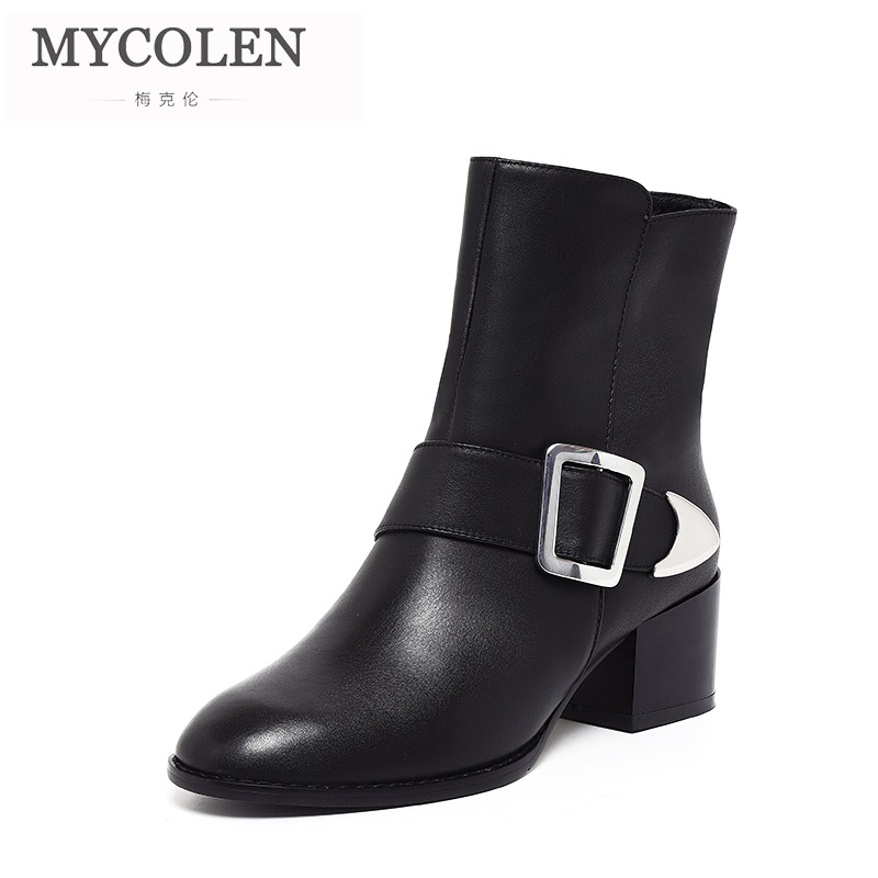 MYCOLEN New Arrivals Fashion Solid Square Heel High Heel Women Boots Winter Ladies Chelsea Boots Round Toe Women Boots Ankle MsMYCOLEN New Arrivals Fashion Solid Square Heel High Heel Women Boots Winter Ladies Chelsea Boots Round Toe Women Boots Ankle Ms