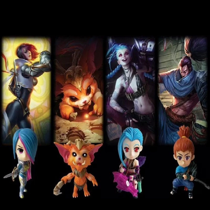2017 new game Fiora The Grand Duelist Jinx Gnar The Missing Link Yasuo the Unforgiven 4pcs/set pvc action figure model toy hot lol the yasuo project action figure yasuo figure new in box