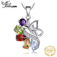 JewelryPalace Women Silver Necklace Butterfly 2.4ct Amethyst Garnet Peridot Citrine Blue Topaz Pendant 925 silver No Chain