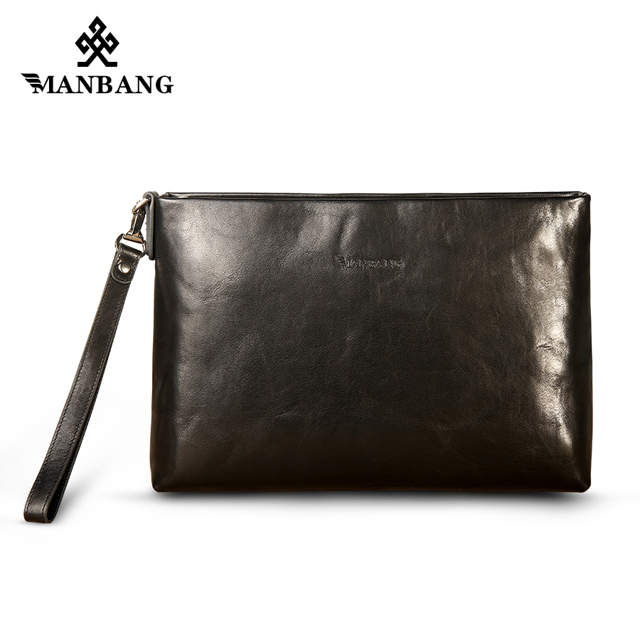 ManBang Luxury Brand Business Men Hand Bag High Quality Genuine Leather Casual Men Clutch Bag Black Envelope Bags Briefcase 2017 luxury brand men clutch cowhide wallet genuine leather hand bag classic multifunction mens high capacity clutch bags purses