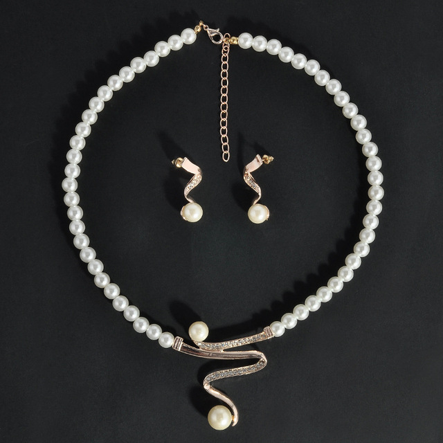 Hot Imitation Pearl Jewelry Sets Women Bridal Wedding Party Prom Rhinestone Necklace Earrings Set