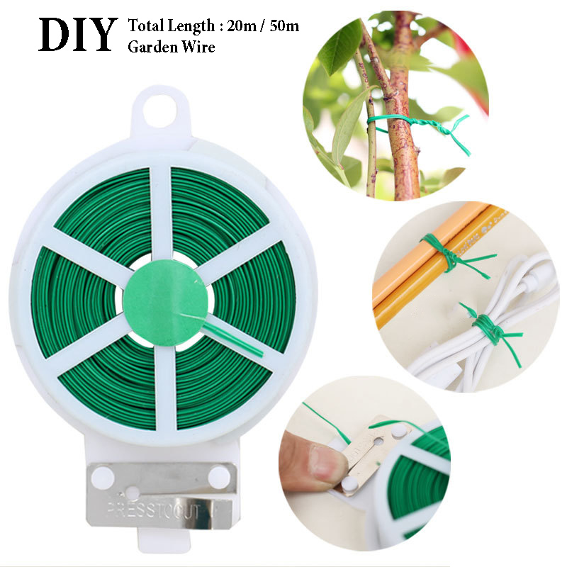 20M/50M Garden Wire Green Gardening Vine Climbing Plants Cable Tie Lines Plant Brackets Parts Bonsai Flower Cucumber Grape Ratta
