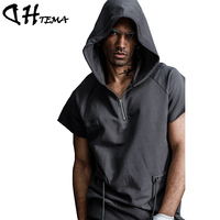 DHTEMA Hip Hop Men's Short Sleeves Hoodies Fitness Fashion Jackets Sweatshirts Bodybuilding Sportsman Brand Clothing