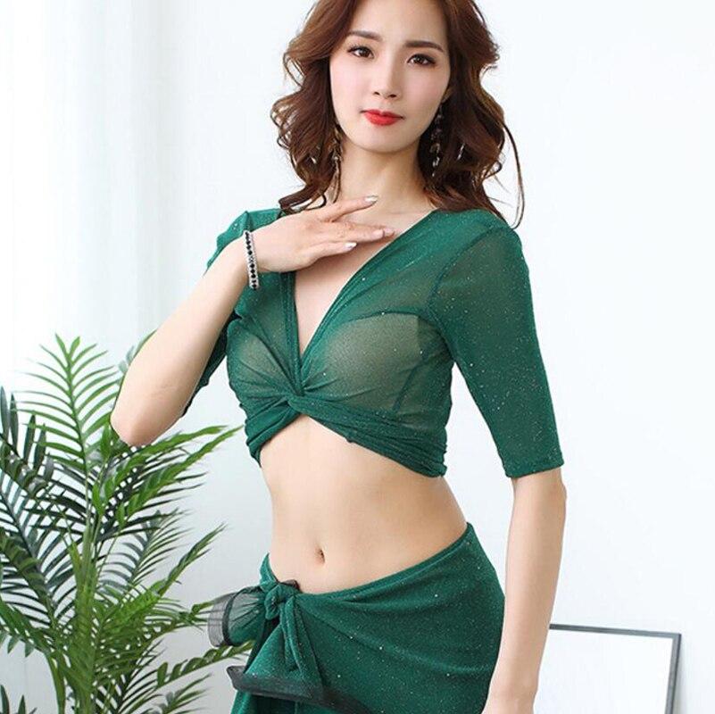 2019 New Summer Sexy Women Oriental Dance Practice Outfit 3 Piece Belly Dance Costume Top Long Skirt