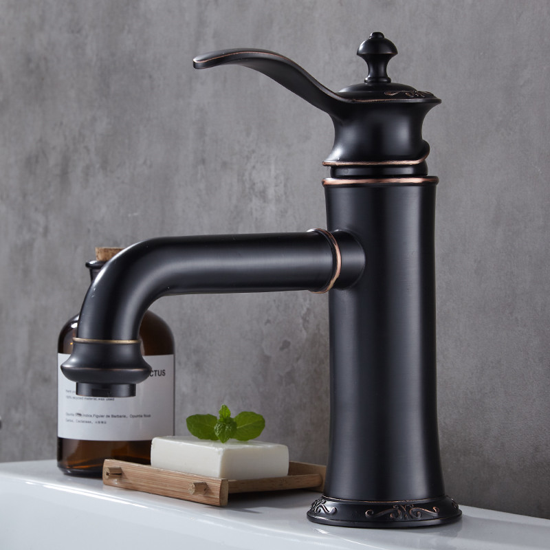 Bathroom Basin Faucet Sink Faucet Brass Single Handle Hot Cold Sink Mixer Tap Wash Basin Deck Mounted Black Oil Brushed FaucetBathroom Basin Faucet Sink Faucet Brass Single Handle Hot Cold Sink Mixer Tap Wash Basin Deck Mounted Black Oil Brushed Faucet