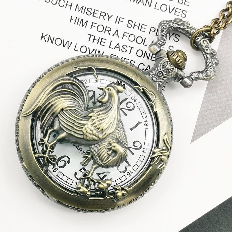Vintage Hollow Chicken Pattern Quartz Pocket Watches Bronze Retro Chain Watches Best Gift For Men Women Reloj De Bolsillo