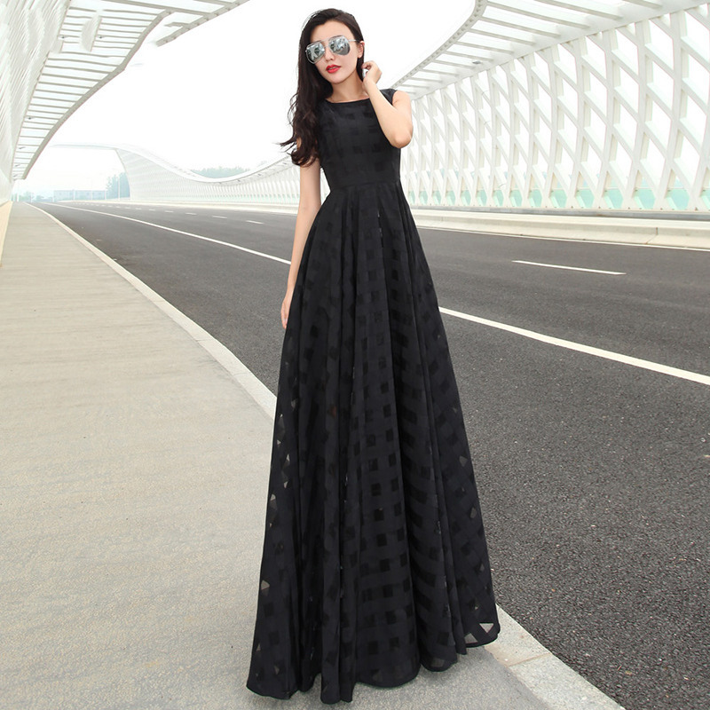 716c311a45 2017 New Fashion Style Women Hollow Out Chiffon Maxi Dress Party Dresses  Sleeveless vestido de festa Plus Size D33011-in Dresses from Women's  Clothing on ...