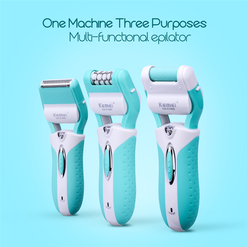 цена 3 in 1 Rechargeable Lady Foot File Shaver Callus Remover Electric Epilator Hair Removal Pedicure Foot Care Beauty Tools Kit 35
