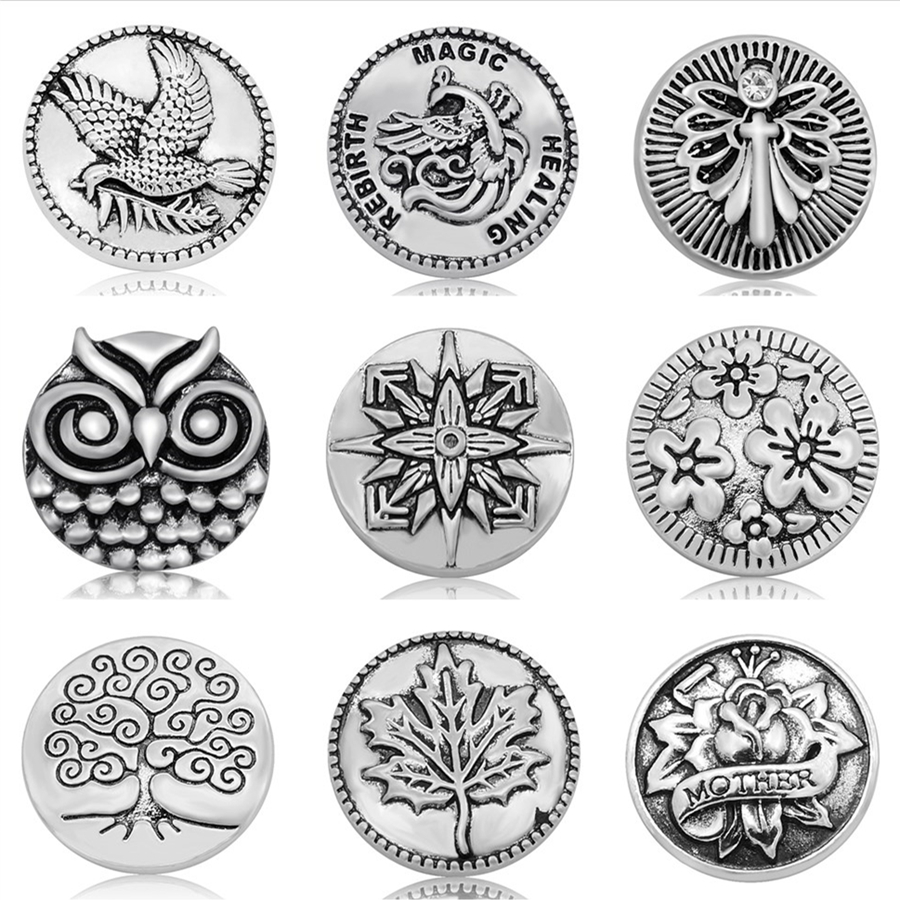 цена на New Charm Beauty Round Animals Flowers words pattern 18mm snap buttons fit DIY snap jewelry wholesale