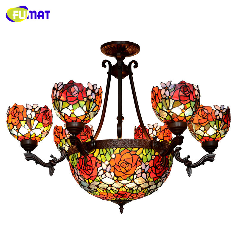 FUMAT Stained Glass Pendant Light Classic Glass Roses Shade Lightings For Living Room European Luxury LED Roses Pendant Light