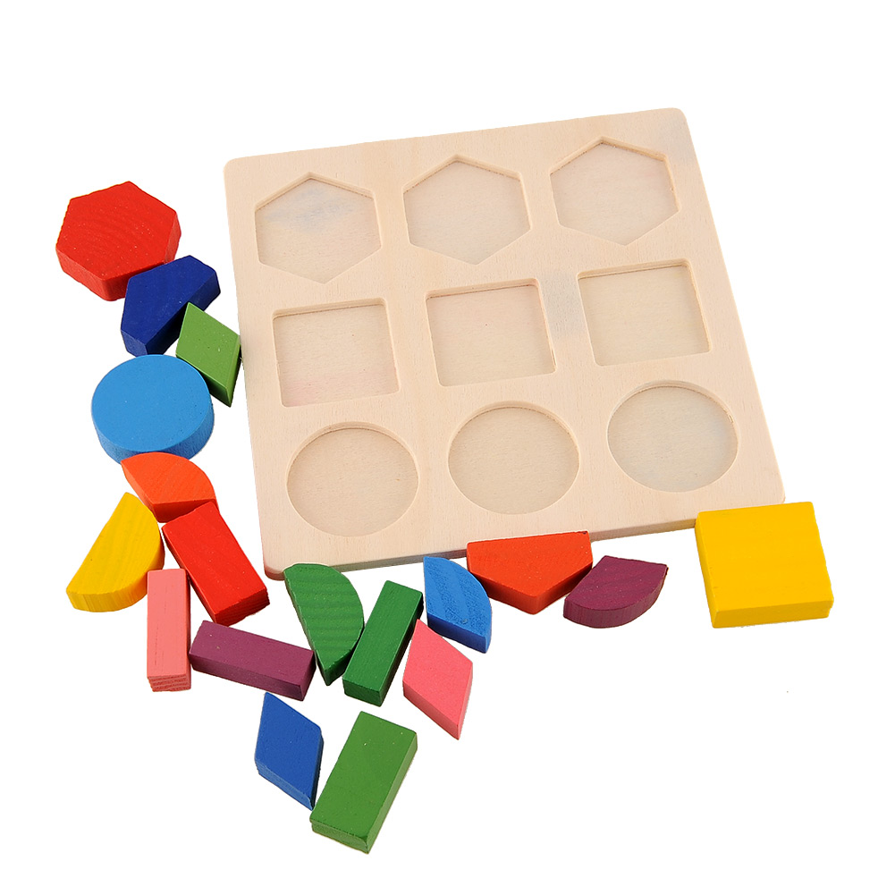 Baby Wooden Building Block Montessori Early Educational Toys Intellectual Geometry Toy 5