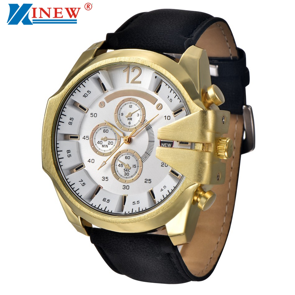 XINEW Watches For Men Luxury Steel Quartz Wrist Watch Mens Leather Military Watches Men's Sports Clock Relogio Masculino #Ni xinew fashion luxury man watches xinew men s leather band watches military sport analog quartz date wrist watch for men feida