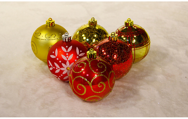 Christmas Tree Ornament Attractive Balls Red Yellow 24 Pcs Lot