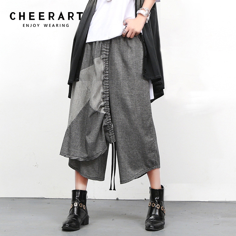 Cheerart Cropped Cotton Linen   Pant   Women Summer   Pants     Capris   Patchwork Elastic aist Loose Hip Hop Dance Trousers Women