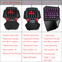 Delux T9 Pro Gaming Keyboard USB Wired Professional Portable keyboard LED Backlit Single Hand Game Ergonomic with Wirst Support
