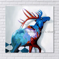Handpainted Abstract Blue Deer Palette Knife Oil Paintings On Canvas Animals Art Wall Pictures For Children's Room Home Decor