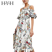 HYH HAOYIHUI Floral Print Cold Shoulder Strap Slash Neck Dress Ruffle Short Sleeve Split Side Bodycon WomenSummer Boho Dress plus cold shoulder ruffle denim dress