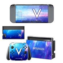 лучшая цена Battlefield V Decal Vinyl Skin Sticker for Nintendo Switch NS Console + Controller + Stand Holder Protective Skin