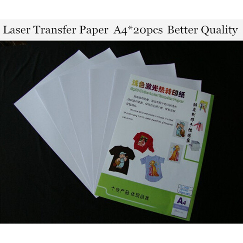 (A4*20pcs) Laser Heat Transfer Printing Paper For Light Clothes Only Cheap Papers A4 Thermal Papel Fabric Transfer Paper TL-150R