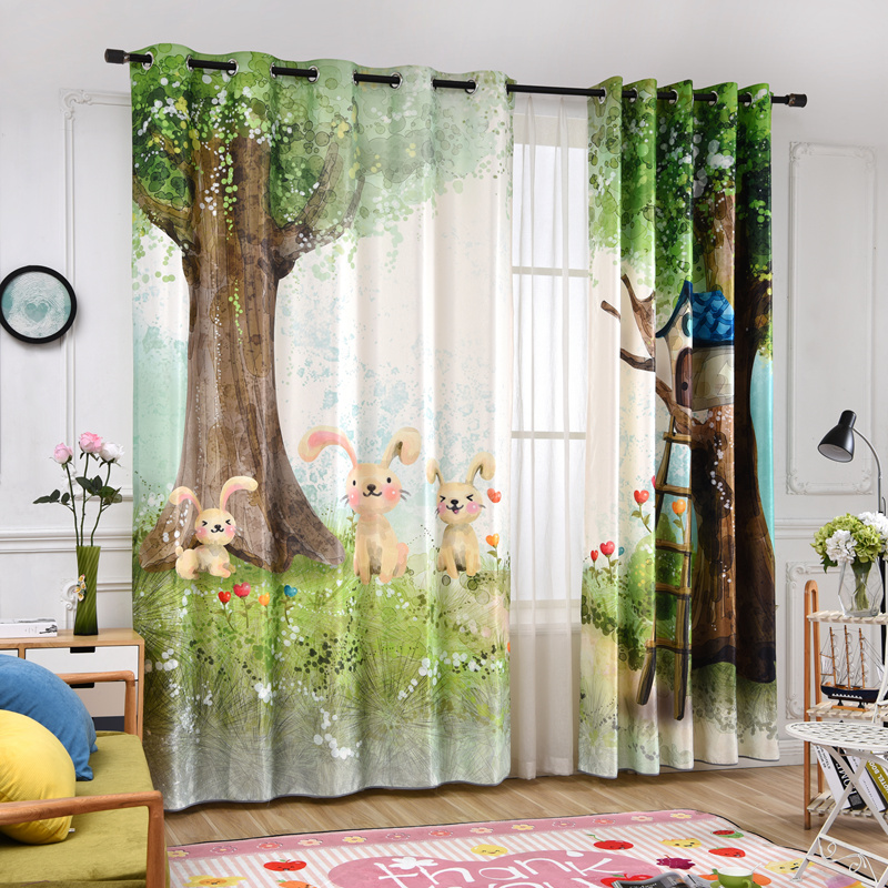 Cartoon Forest Rabbit digital printing Curtains for Living Room/Bedroomn Sheer Curtains for Kids childrens Room Window CurtainsCartoon Forest Rabbit digital printing Curtains for Living Room/Bedroomn Sheer Curtains for Kids childrens Room Window Curtains