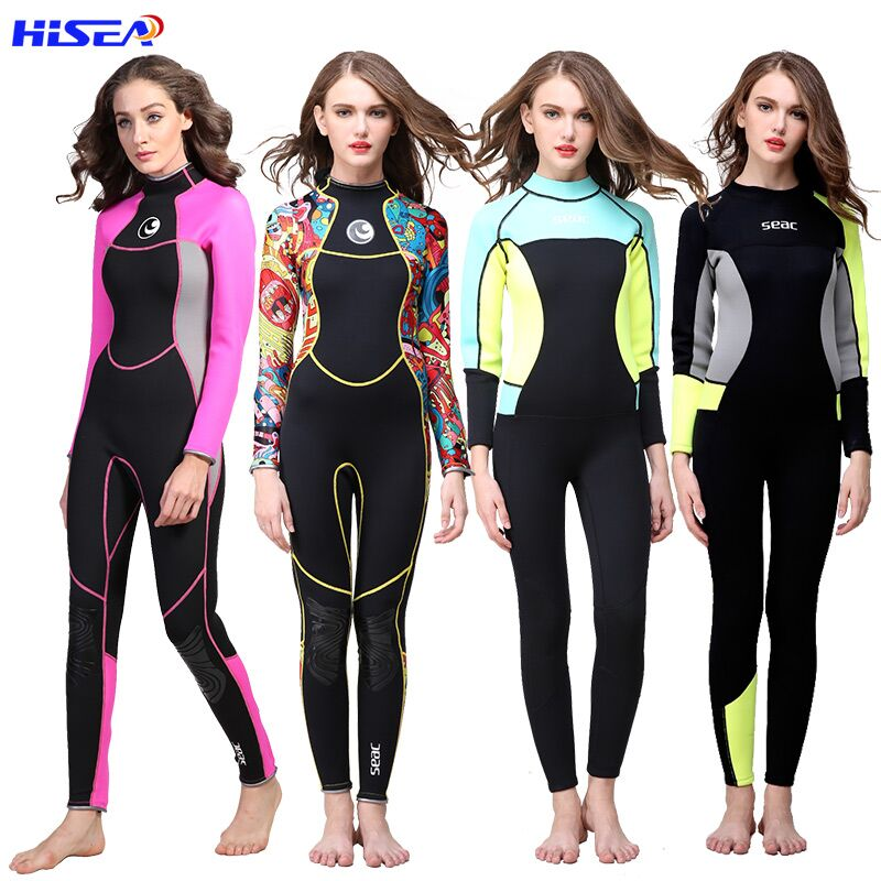 Hisea Women 3mm Neoprene Բարձրորակ Wetsuit malերմային Scuba Diving Spearfishing Մի կտոր Wetsuits Surfing Slim Full Bodysuit