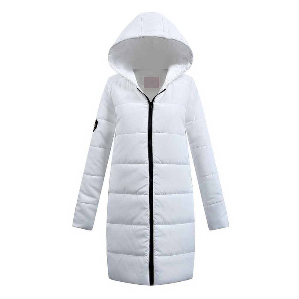KLV 1PC Women Coat Winter Casual Down Cotton Full sleeves Ladies   Parka   Hooded Solid Coat Quilted Jacket White Outwear z1012#