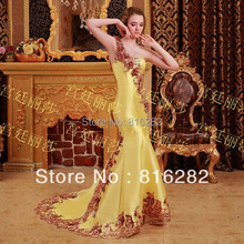 2016 Trumpet Mermaid Floor Length Beads Sequins Applique Court Train Sweetheart One Sholder Yellow Taffeta font