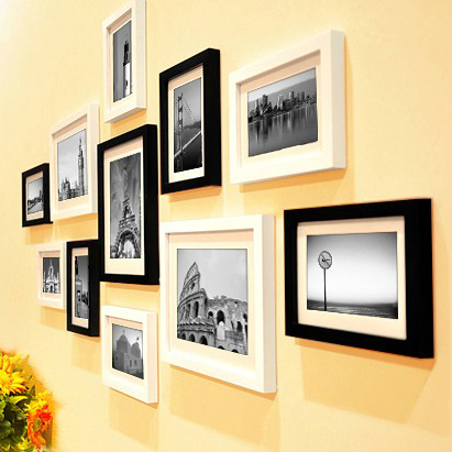 11 piecesset europe style black and white color photo frame with picture cheap